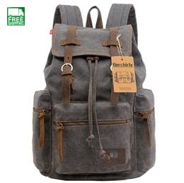 Vintage Leather Military Backpacks Men/women School Camping Backpacks