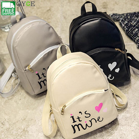 Women Backpack Letter Print Mini Pu Leather Schoolbags Camping Backpacks