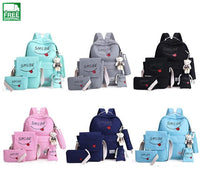 Women Canvas 5Set Backpack Printing Students Bookbag 5 Pcs School Bag Set 2 / Piece Suit Camping