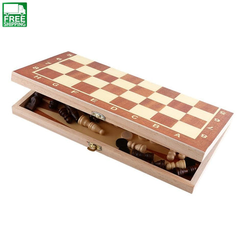 Wood Chess Board Set Folding Wooden Chessboard Game International Outdoor Toys