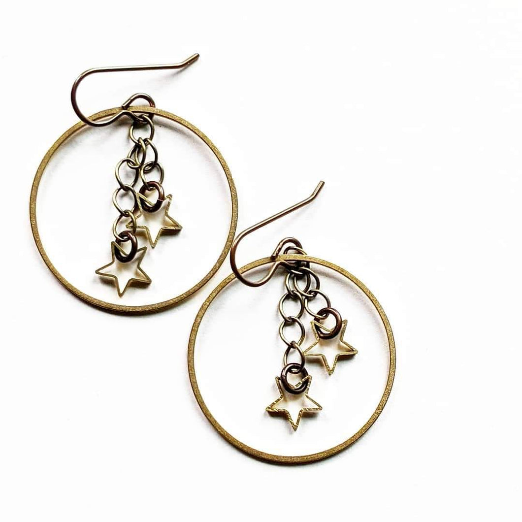 Brass Hoops and Stars Earrings