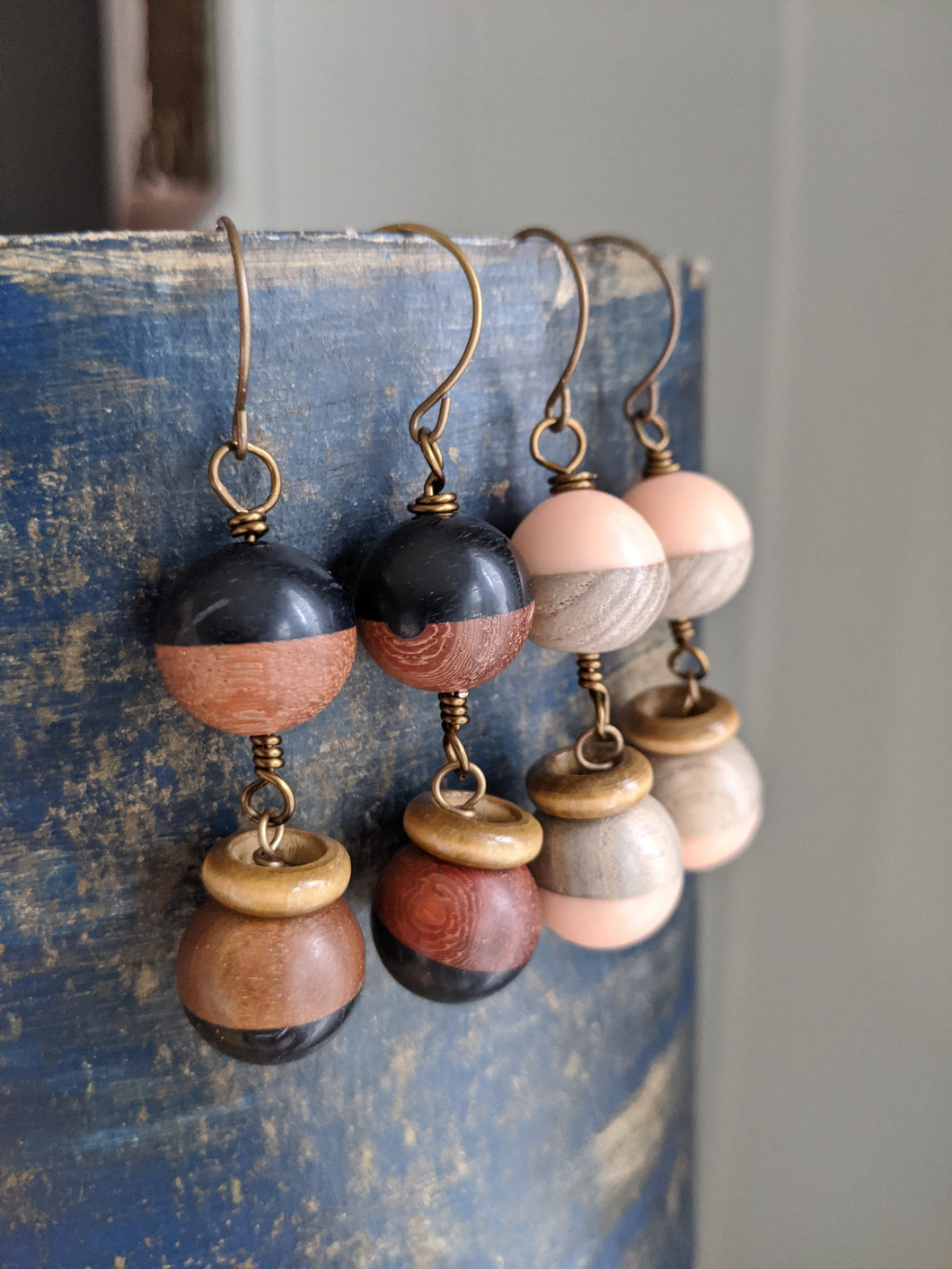 Wood and Resin Earrings