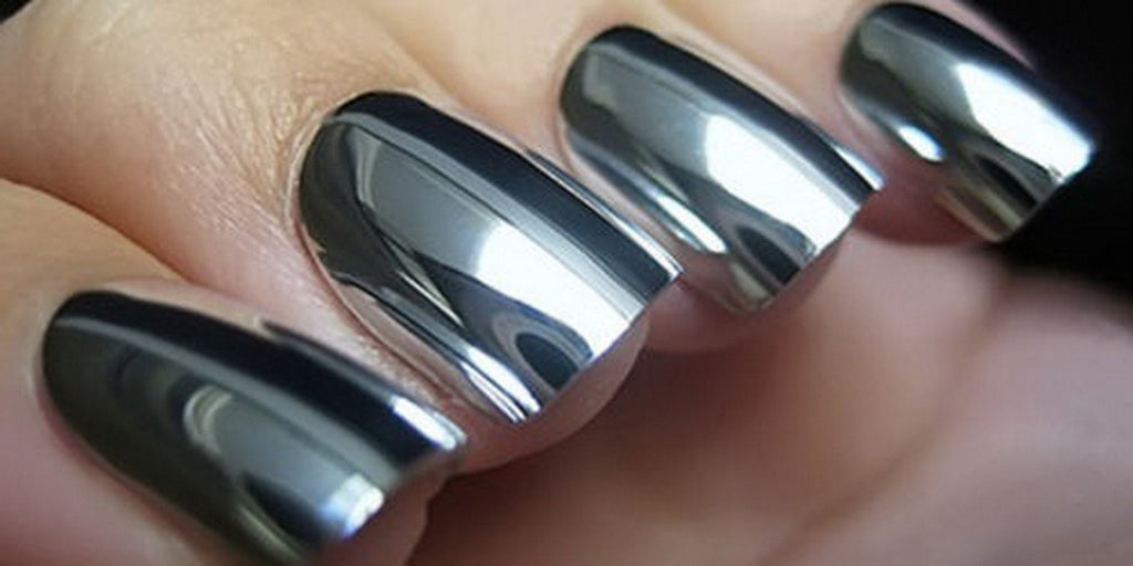 Metallic mirror effect metal silver nail art polish varnish 6ml metallic mirror effect metal silver nail art polish varnish 6ml top coat prinsesfo Image collections