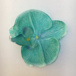 Orchid Single Clip Hair Flower - Turquoise