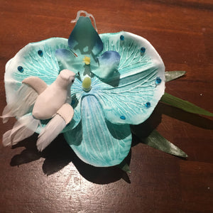 Tiki real blue jewelled orchid with stunning bird