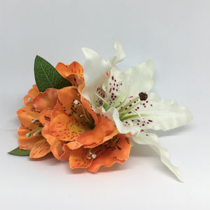 Tiger Lily and Alstroemerias Hair Flower - Burnt Orange