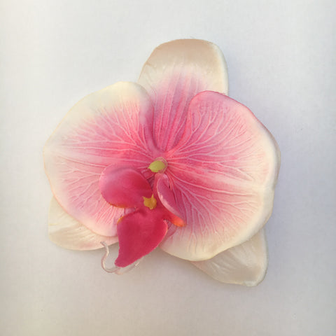 Orchid Single Hair Clip - Pink and White