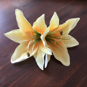 Double Lily Hair Flower - Yellow