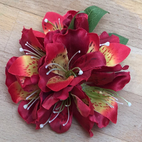Alstroemerias Hair Flower - Small, Red
