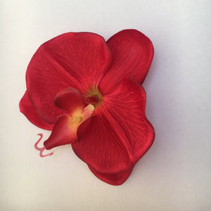 Orchid Single Hair Clip - Red
