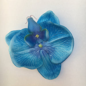 Orchid Hair Flower - Single Clip, Mermaid Blue