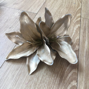 Double Lily Hair Flower - Metallic Gold