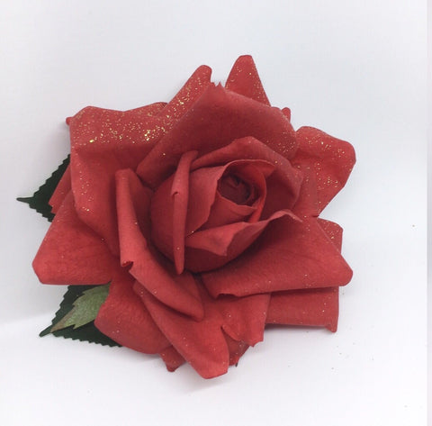 Real Touch Rose Hair Flower - Large Red