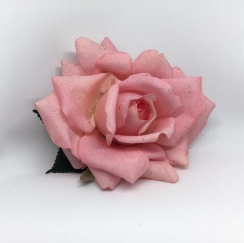 Real Touch Rose Hair Flower - Pink Small
