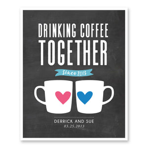 Drinking Coffee Together Custom Couple Coffee Mugs Print