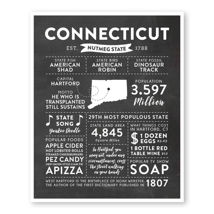Connecticut State Infographic wall art print