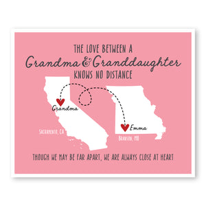 Grandma and Granddaughter Long Distance Map