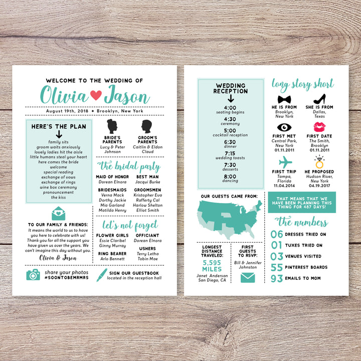 Mint Infographic Wedding Program