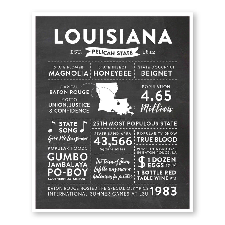 Louisiana State Infographic wall art print