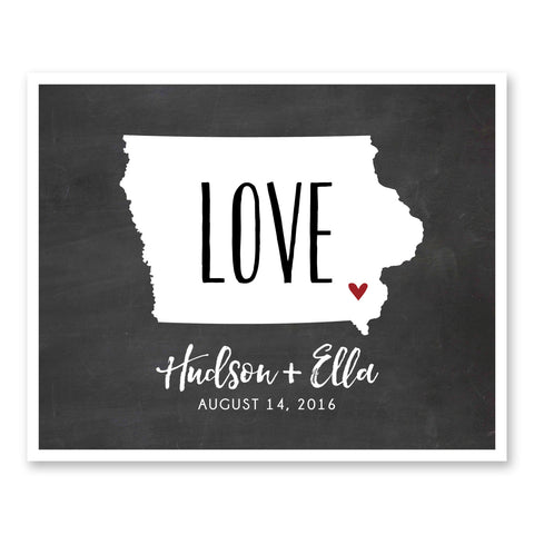 Presents For Couples Customizable Love State Map