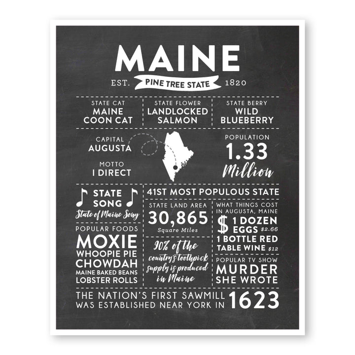 Maine State Infographic wall art print