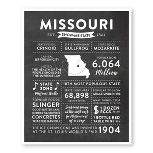 Missouri State Infographic wall art print