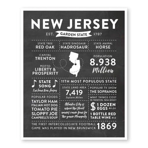 New Jersey State Infographic wall art print