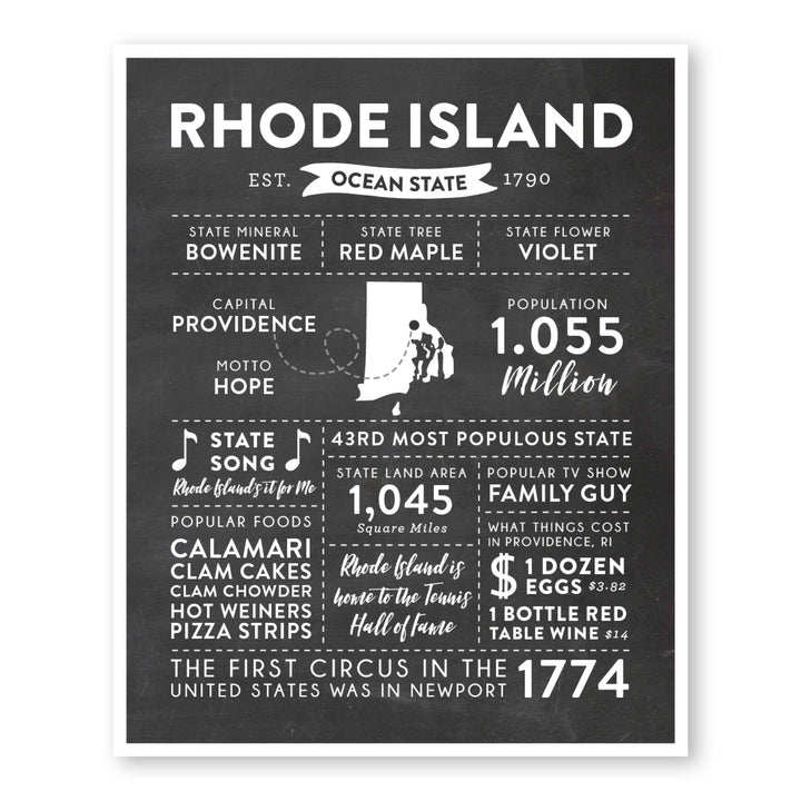 Rhode Island State Infographic wall art print