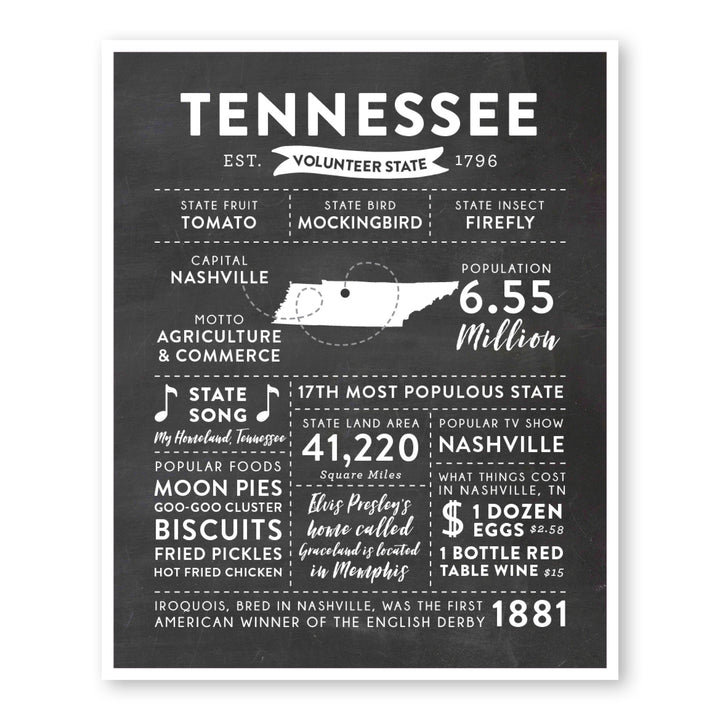 Tennessee State Infographic wall art print