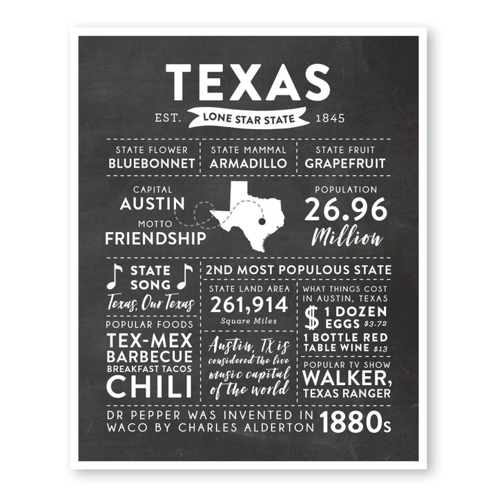 Texas State Infographic wall art print