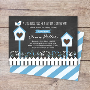 A Little Birdie Told Me Boy Baby Shower Invitation