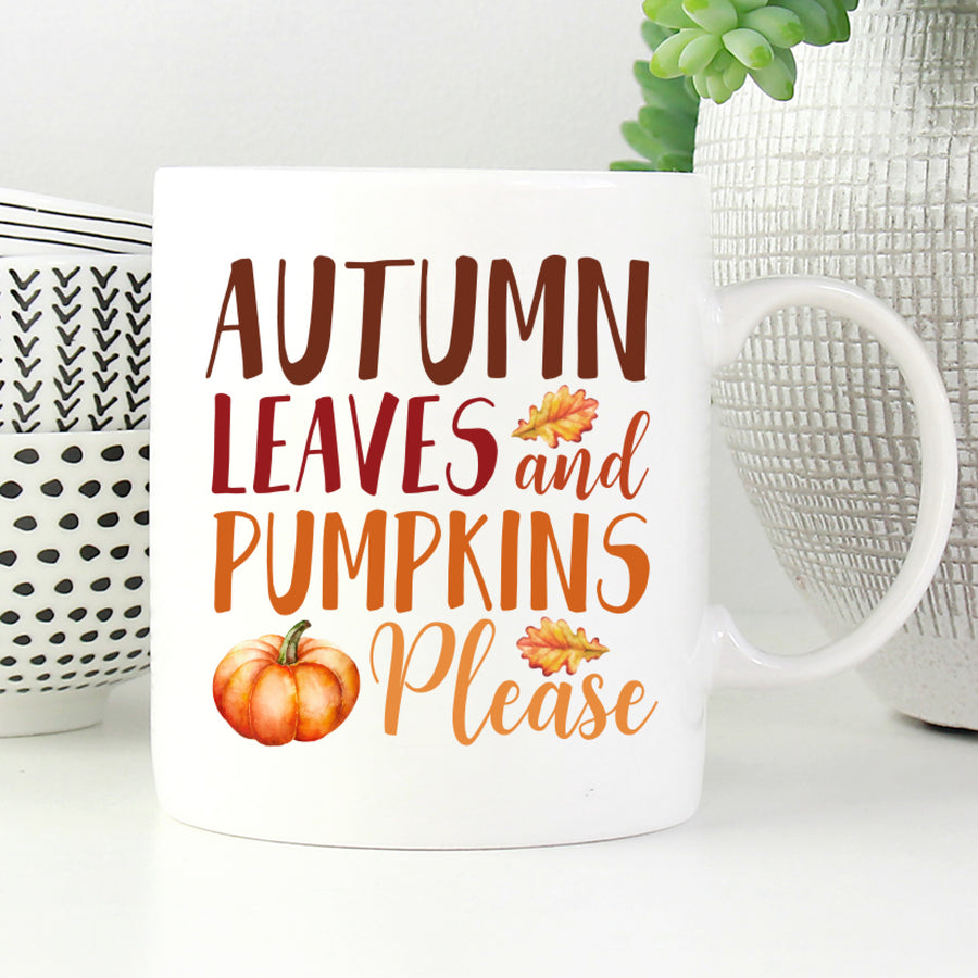 Autumn Leaves and Pumpkin Please Mug