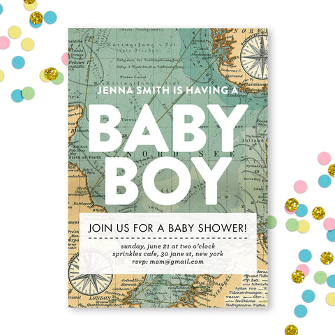 Vintage Map Baby Shower Invite
