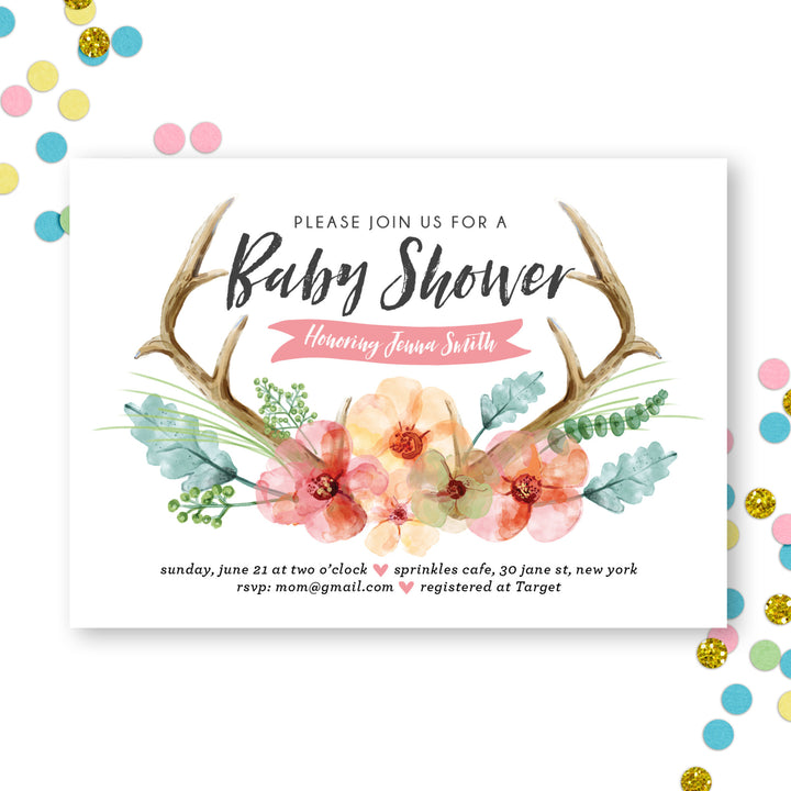 Watercolor Antler Baby Shower Invitation