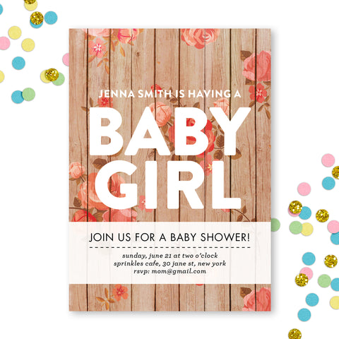 Rustic Baby Shower Invite