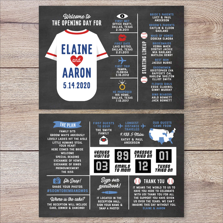 Baseball Infographic Wedding Program