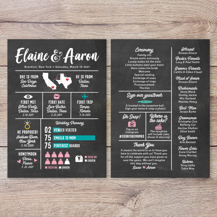 Chalkboard Infographic Wedding Program