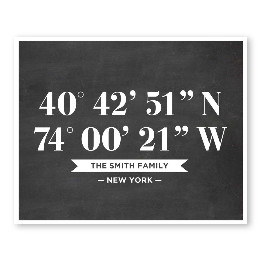 Custom Latitude Longitude Sign Family Coordinates