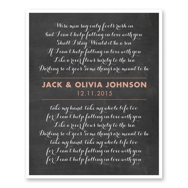 Wedding Memento Custom Script Wedding Lyrics