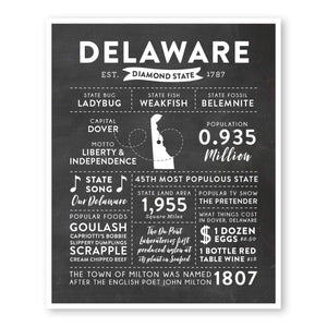 Delaware State Infographic wall art print