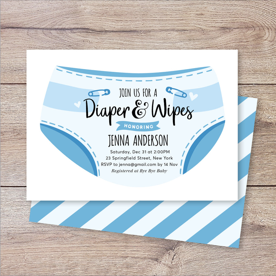Diapers and Wipes Boy Baby Shower Invitation