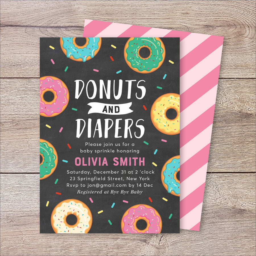 Donuts and Diapers Baby Shower Invitation
