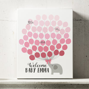 Elephant Girl Baby Shower Guest Book Alternative