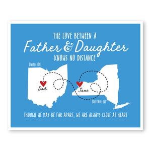 Father and Daughter Long Distance Map