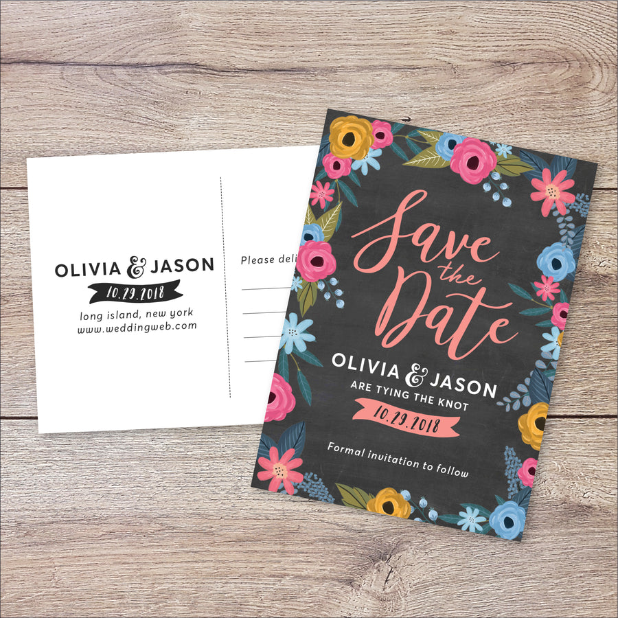 Floral Save the Date Card