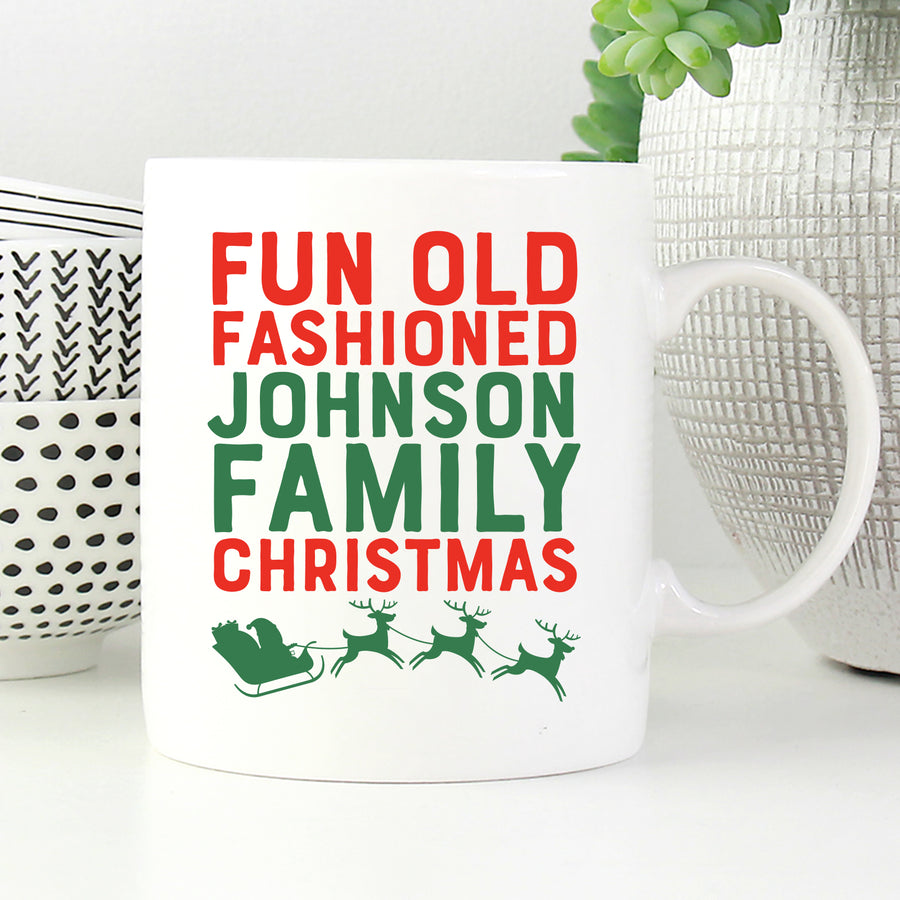 Personalized Fun Old Fashioned Family Christmas Mug