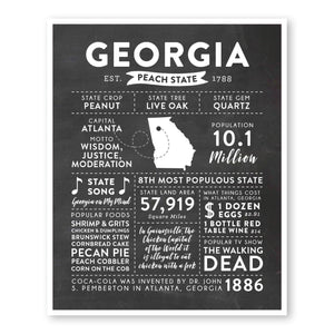 Georgia State Infographic wall art print