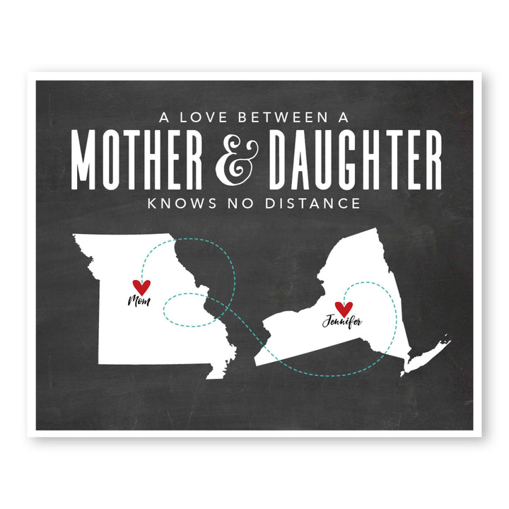 Chalkboard Mother Daughter Map