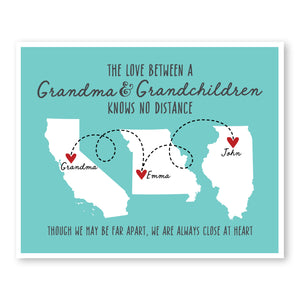 Grandma and her Grandchildren Long Distance Map