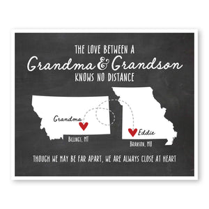 Grandma and Grandson Long Distance Map